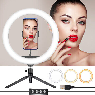 AU25.98 • Buy 12  LED Dimmable Ring Light Tripod Stand Phone Holder Youtube Makeup Live Lamp