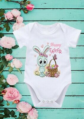 Happy Easter Day Bunny Easter Cute Cool Happy Baby Girl Boy Bodysuit Vest 130 • 8.48£