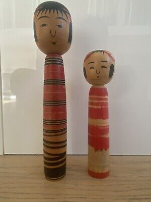 Vintage Pair Japanese Solid Wood Kokeshi Hand Painted 9.5 & 7 Inch Signed Dolls • 20£