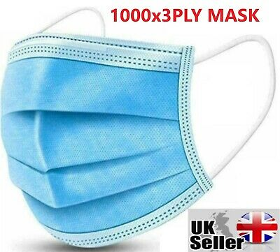 £19.99 • Buy 1000 X Disposable Face Mask 3 PLY Disposable Face Mask