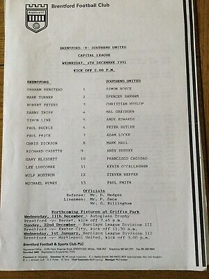 BRENTFORD V SOUTHEND UNITED ( Capital League ) 1991/2. • 0.99£