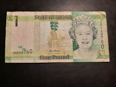 England/ The States Of Jersey /One Pound £1/ Bank Note/Serial No. GD549760 • 1£