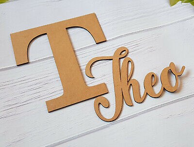 Personalised Name And Initial Letter Wooden Plaque Door Sign Crafts Wedding • 6.99£