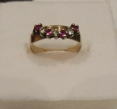 AU192 • Buy 9K Yellow Gold White Central Sapphire And Pink Topaz Dress Ring Size K