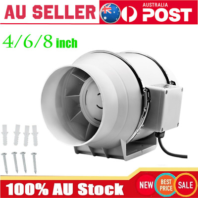 AU45.88 • Buy AU4/6/8 Inch Silent Extractor Fan Duct Hydroponic Inline Exhaust Vent Industrial