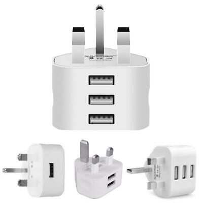 £5.15 • Buy UK Mains Wall 3 Pin Plug CE Adaptor Charger With USB Ports For Phones Tablets