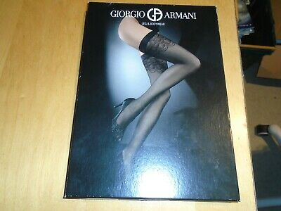 NEW: Wolford Giorgio Armani Leg & Bodywear Cold Brown Hold Stay Ups Size Large • 30£