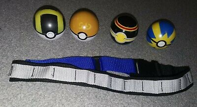 4 Pokeballs And Pokeball Belt Pokemon Ball Toys • 20£