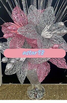 Silver Bling Mosaic Romany Mirror Decorated 26cm Vase With Silver & Pink Flowers • 26.98£