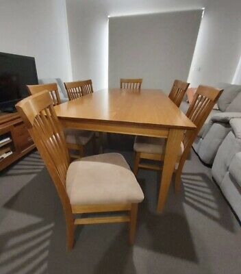 AU390 • Buy Solid Tasmanian Oak Timber  Dining Table 210cm And 8 Chairs