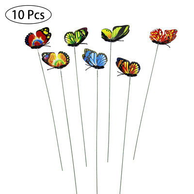 10Pcs Colorful Butterflies Stakes Garden Patio Butterfly Ornaments On Sticks TR1 • 5.25£