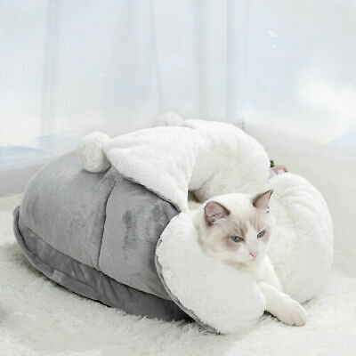 £11.99 • Buy Soft Sleeping Cat Bed Igloo Dog Puppy Kitten Grey Cave House Washable Detachable