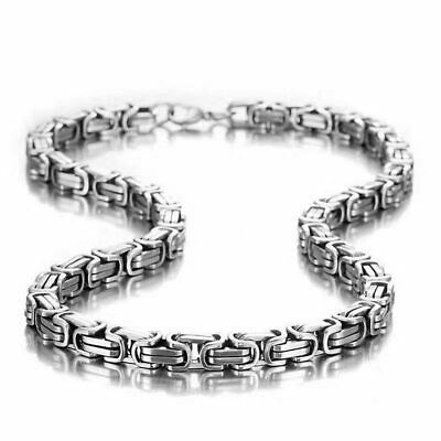 Stainless Steel 5mm Byzantine Kings Imperial Link Box Chain Heavy Long Necklace • 12.95£