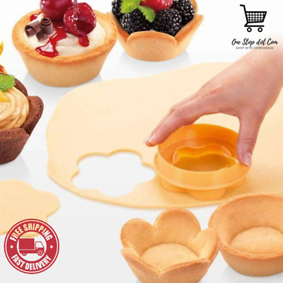 Plastic Pastry Tamper Flower And Round Crust Mold Pastry Cup Dough Cookie Cutter • 7.59£