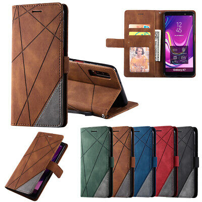 AU6.99 • Buy Case For Samsung J8 J6 J3 J7 A6 A7 A8 Leather Flip Wallet Stand Cover Shcokproof