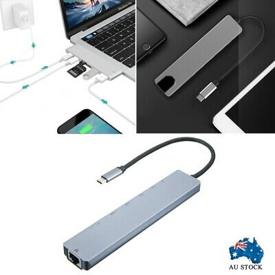 AU27.50 • Buy 8in1 USB-C 3.1 To Type-C USB 3.0 Hub HDMI RJ45 Ethernet Micro OTG SD TF Adapter