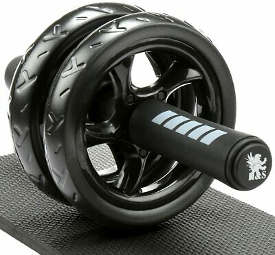 H&S Ab Abdominal Exercise Roller With Extra Thick Knee Pad Mat - Body Black  • 22.79£