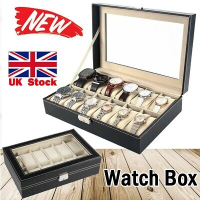 £11.99 • Buy 12 Grids Leather Watch Display Case Jewelry Collection Storage Holder Box UK