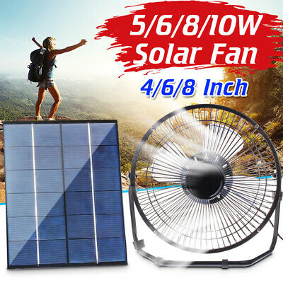 AU19.98 • Buy 8/10W Solar Powered Fan Car Ventilation Cooler USB Desk Fan Dog Pet Greenhouse