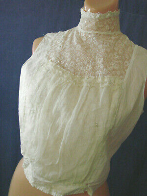 £43.21 • Buy VTG Edwardian Bodice Top Blouse LACE Shell Antique S Cotton GIBSON COLLAR