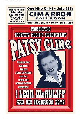 $12.80 • Buy Country Great: Patsy Cline At The Cimarron  Ballroom Concert Poster  15x23