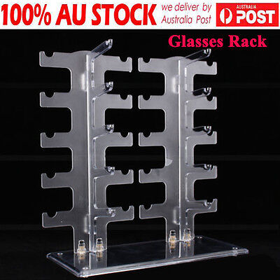 AU16.79 • Buy 2 Row 10Pairs Sunglasses Glasses Rack Holder Frame Display Stand Transparent HOT