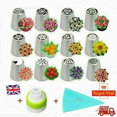14PCS/Set Russian Stainless Pastry Tips Fondant Cake Decor Icing Piping Nozzles • 7.59£
