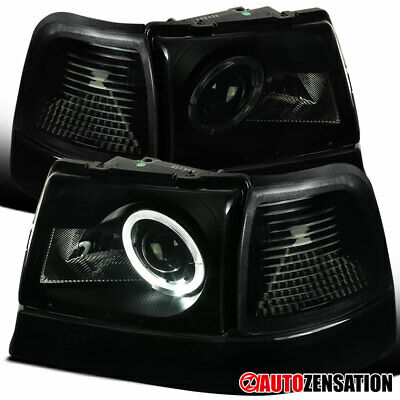 $127.99 • Buy For 98-00 Ford Ranger Black Smoke Halo Projector Headlights+Corner Signal Lamps