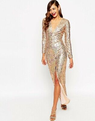 AU150 • Buy ASOS Red Carpet Womens Size AU 12 Or US 8 Long Sleeves Sequin Dress NEW + TAGS