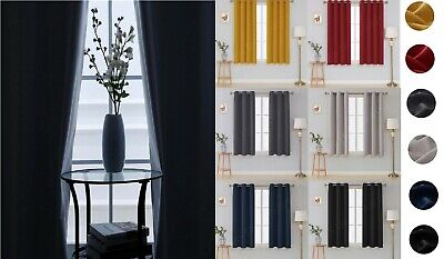Thick Thermal Blackout Curtain Eyelet Pair Ring Top Tie Back Ready Made Curtains • 29.49£