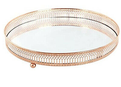£11.99 • Buy Mirror Glass Decorative Vintage Rose Gold Metal Candle Perfume Display Tray