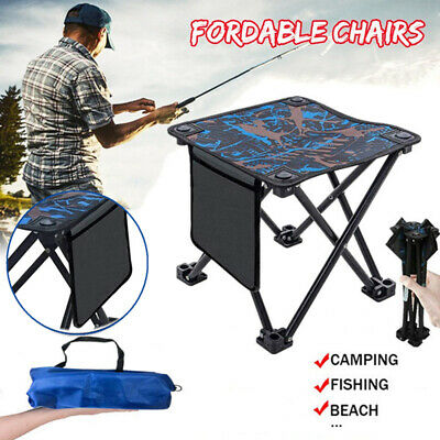 Portable Folding Table Chair Outdoor Camping Fishing Picnic BBQ Mini Seat Stool • 16.80£
