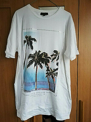 River Island Palm Trees Mens Tunic White 32  T Shirt Size Large Short Sleeve Top • 5.99£