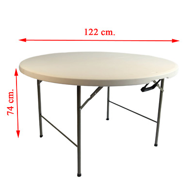 4FT White Outdoor Folding Camping Round Table Picnic Table Lightweight Portable • 39.99£