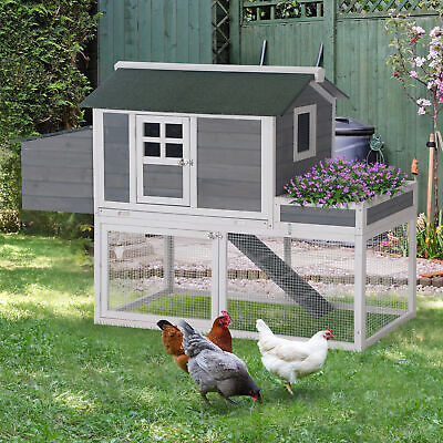 £142.99 • Buy 160cm Wooden Chicken Coop Hen Hutch Poultry House Nesting Cage Planting Box