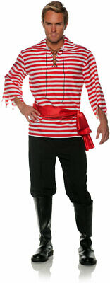 Red Pirate Set Lace Front Shirt Pants Sash Halloween Top Accessory Adult Men • 15.38£