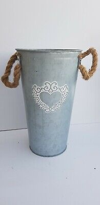 Tall Galvanised Shabby Chic Metal Planter/Vase:Rope Handles:Home/Garden: 30x18cm • 14.99£