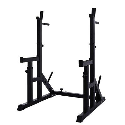 $ CDN216.94 • Buy Adjustable Squat Rack Stands Barbell Lifting Dip Station Fitness Home Gym