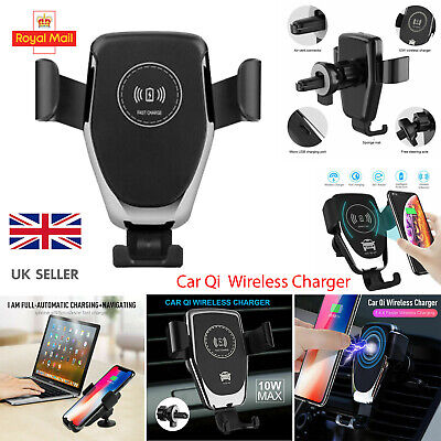 $ CDN5.24 • Buy Qi Wireless Charger Car Phone Mount Holder Bracket For IPhone 8 XS XR 11 12 Pro