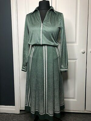 £99.99 • Buy Rare Vintage 1940s Kai Ming Green And White Spotty Two Piece Outfit Size 10/12