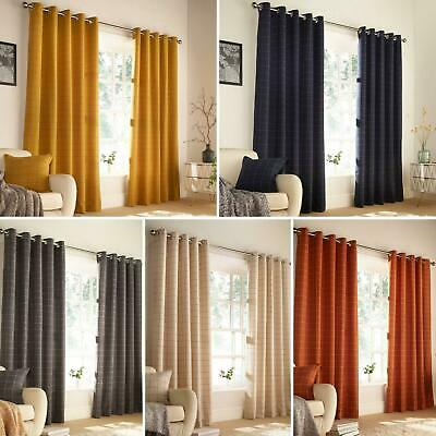 Checked Eyelet Curtains Ellis Faux Wool Ready Made Ring Top Curtain Pairs • 82.95£