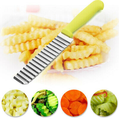 £3.19 • Buy Stainless Steel Potato Chips Vegetable Crinkle Wavy Cutter Fry Making Tool Hot