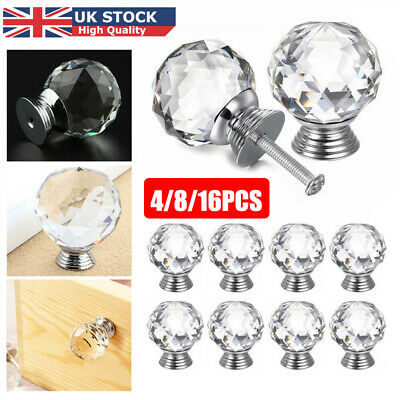 16pcs Clear Diamond Crystal Glass Door Knobs Handles Drawer Wardrobe Cabinet UK • 7.89£