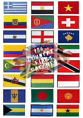 Country Flags For Jacket Jeans Clothes Iron On Or Sew On Embroidered Patches • 2.29£
