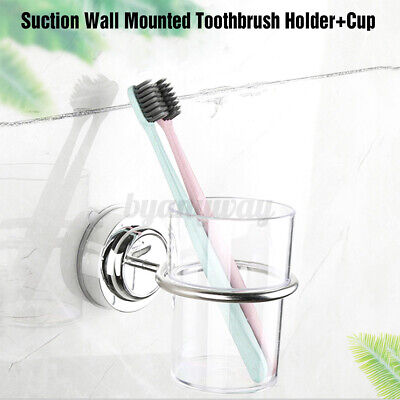 Bathroom Suction Wall Mounted Stainless Steel Toothbrush Tumbler Holder & Cup • 6.77£