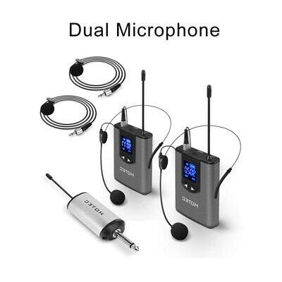 Wireless Audio System + 2x Headset Microphone Dual Bodypack Transmitter Set UK • 52.85£