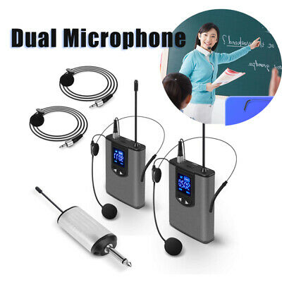 Portable UHF Wireless System Dual Headset/Lavalier Microphone For Karaoke Device • 53.04£
