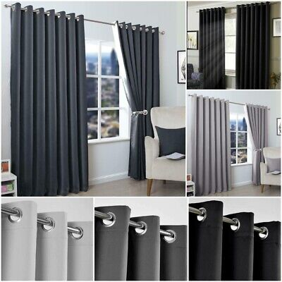 Insulated Heavy Thick Thermal Pair Of Grey Curtains Eyelet Ready Made Ring Top • 12.99£