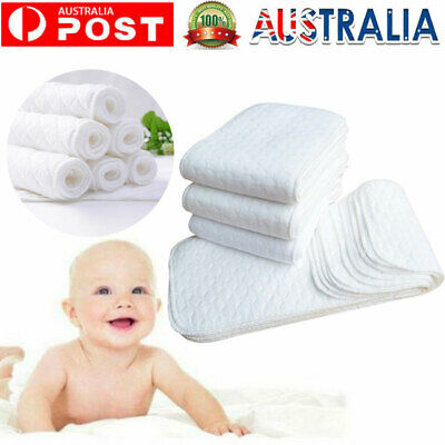 AU10.99 • Buy 10PCS Reusable 3 Layers Bamboo Inserts Liner For Modern Cloth Nappy Diaper AU