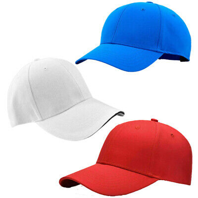 Baseball Cap Mens Womens Plain Cotton Adjustable Peak Sport Summer Printing Caps • 2.79£